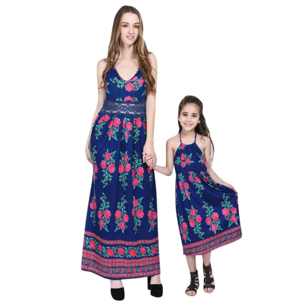 Family Matching Dress Clothes, Franterd Mom&Me Women Girls Strap Floral Long Maxi Splice Backless Beach Sundress (Mom, S)