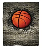 Chaoran 1 Fleece Blanket on Amazon Super Silky Soft All Season Super Plush Sports Decor Collection Basketball Embedded in a Brick Wall Power Training Destruction Image Print Fabric Beige Orange