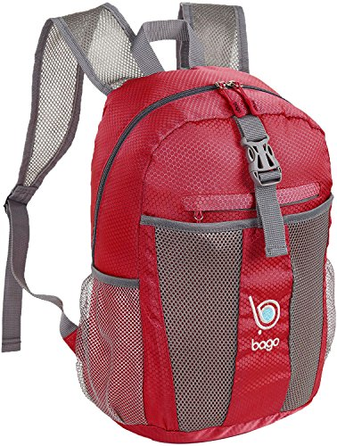 Bago Lightweight Backpack. Water Resistant Collapsible Rucksack for Travel and Sports. Foldable and Packable Daypack for Adults, Men and Women, Teens and Children (Red)