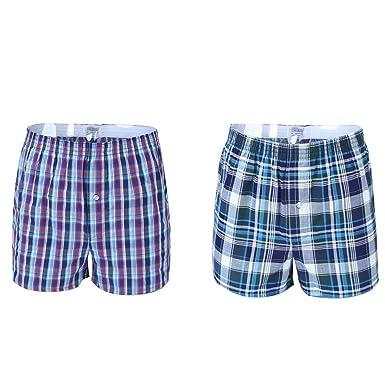 9b8b3ac7e0 Imixcity Lot de 2 Homme Bas de Pyjama Short a Carreaux - Salon Jersey  Extensible Sommeil