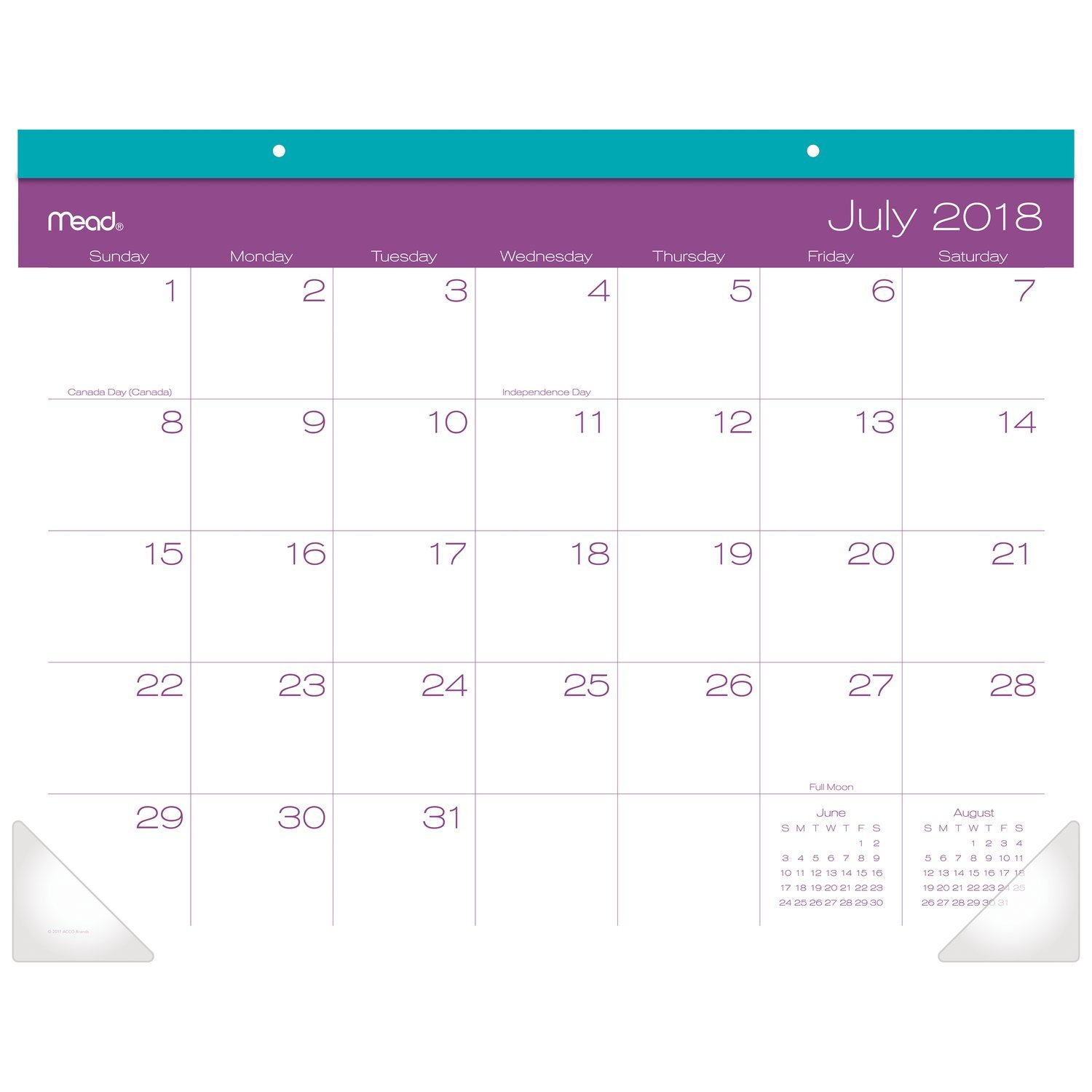 Mead 2018-2019 Academic Year Desk Pad Calendar, Large, 21-3/4 x 17, Color Pop, Color Will Vary (CAM10510)