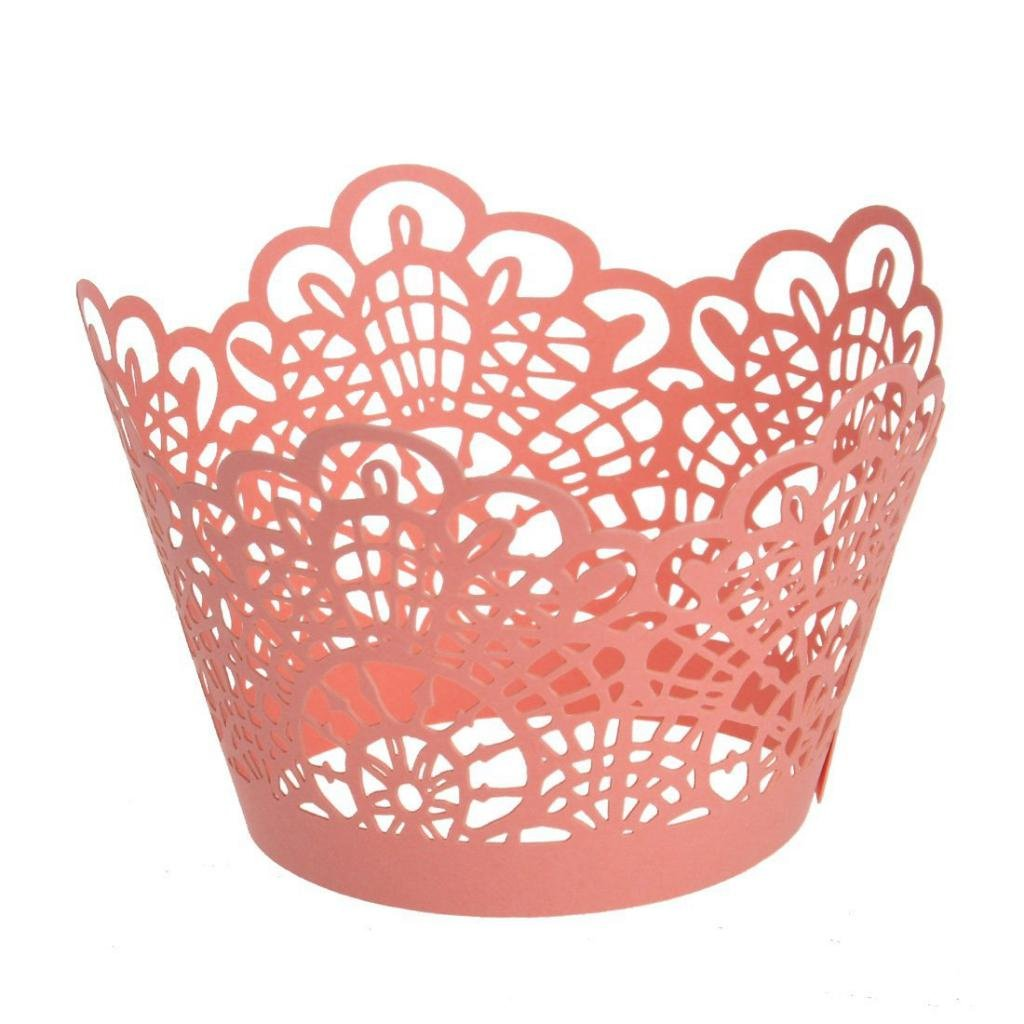 50 Cupcake Paper Cups Cutout Muffin Cake Cases Wrapper Wedding Birthday Party-Pink/White - Pink, 5 x 8 cm MagiDeal