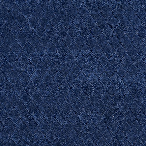 A922 Navy Blue Diamond Stitched Velvet Upholstery Fabric By The Yard