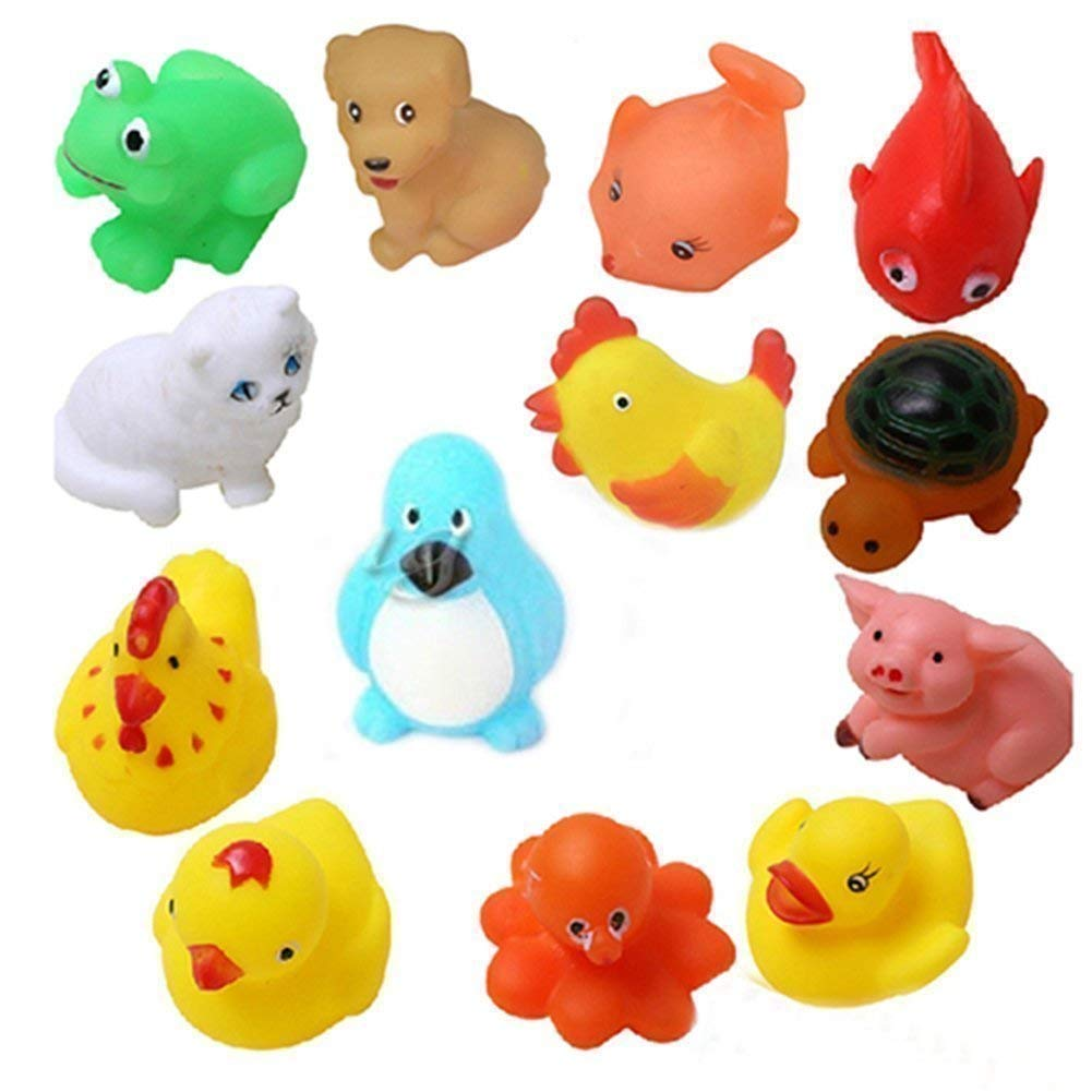 Squeeze Chu Sound Soft Natural Rubber Non-Toxic Toddler Baby Bath Animal Shape Toys, 12 Pieces