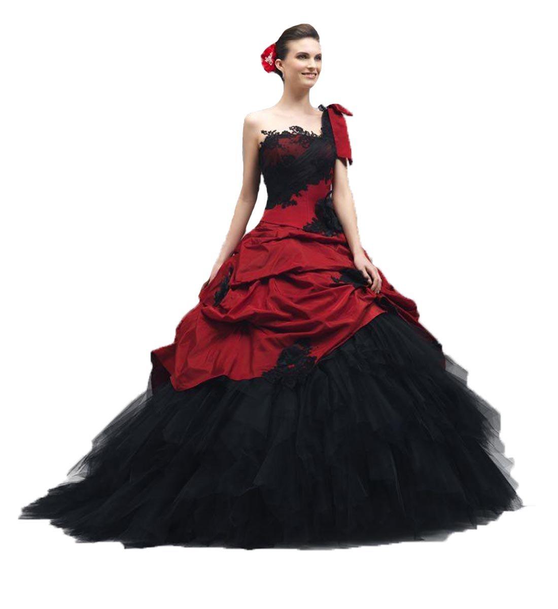 O.D.W Schwarz Rot Lange Vintage Brautkleider Damen Gotisch ...