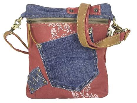 d1611db124af8 Sunsa Damen Tasche Umhängetasche Handtasche klein Canvas bag mit Jeans und  Leder Vintage Design Teenager Taschen