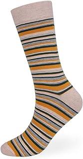 ZhangHongJ,5 paires de chaussures de toile de couleur mignonne avec des rayures d'automne et des chaussettes de mollet(color:Jaune vif,size:39-43 verges)