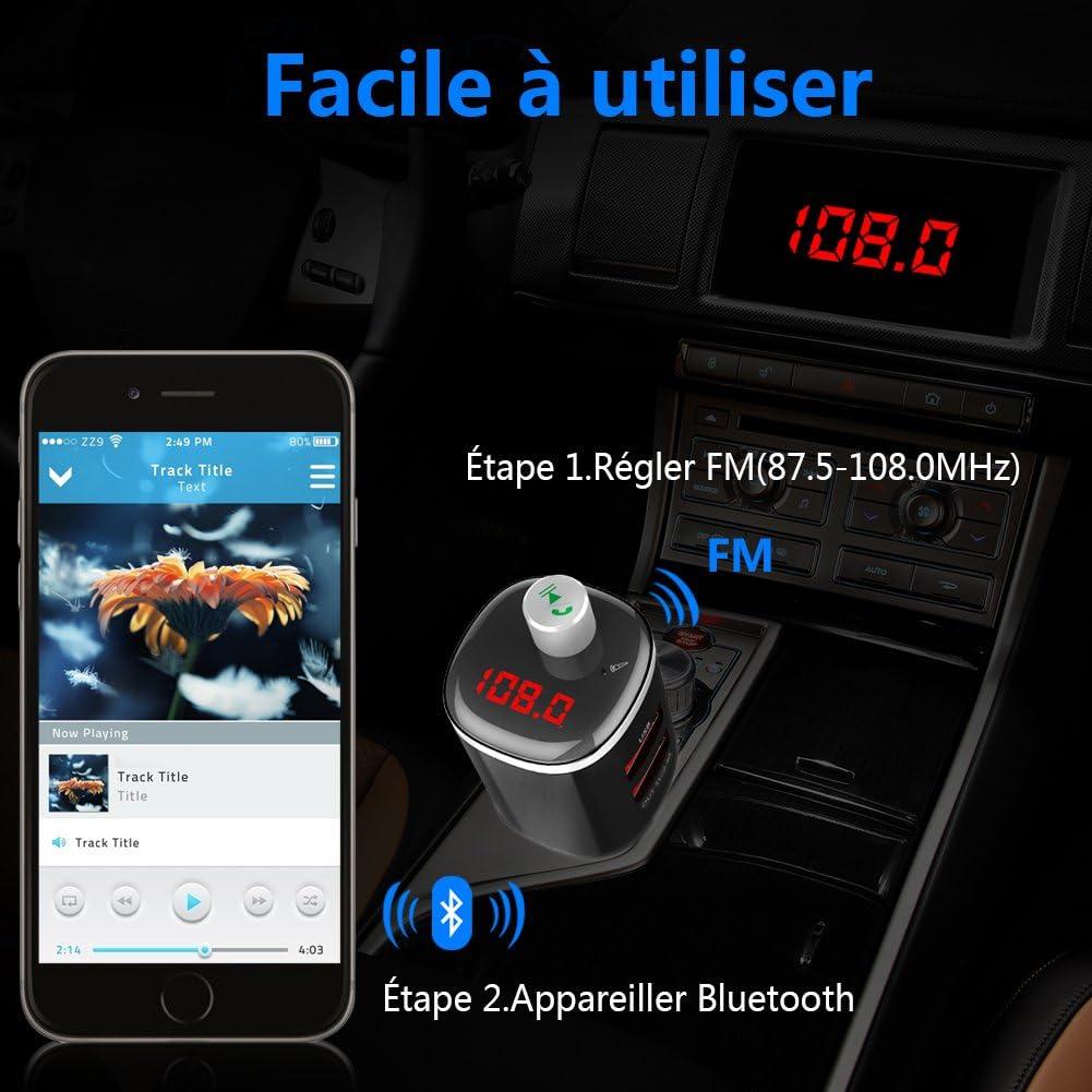 Hieha Transmetteur FM Bluetooth Voiture Chargeur Allume Cigare Auto USB 2 Ports 5V//2.4A Appel Mains Libres Sans fil Lecteur MP3 Cl/é USB Adaptateur Radio /Écran LED dAffichage de Tension de la Batterie