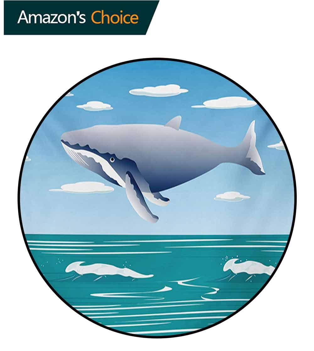 RUGSMAT Whale Non-Slip Area Rug Pad Round,Ocean Sunny Summer Landscape with Huge Jumping Whale On Air Cartoon Style Design Artwork Protect Floors While Securing Rug Making Vacuuming,Round-63 Inch