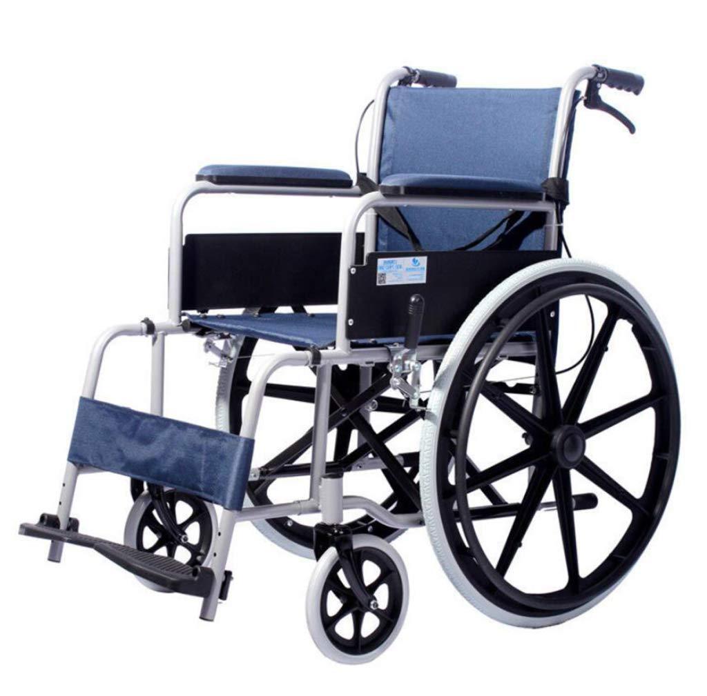 HSBAIS 車椅子軽量折りたたみ B07NLWZ22R、ロック式ハンドブレーキ付き Blue、輸送および保管用チェアー幅18インチ,Blue Blue HSBAIS B07NLWZ22R, こわけや:47fa3d55 --- ijpba.info