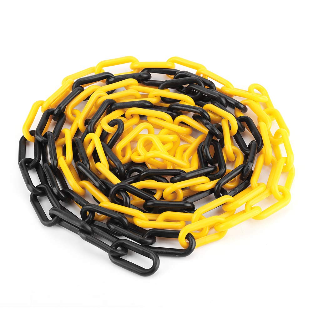 4m 8mm Plastic Chain, UV Protected, Road Warning Block Barrier for Traffic Crowd Parking Control(Yellow + Black) Wal front