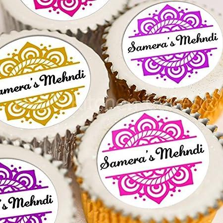Personalised Mehndi Cupcake Toppers Pink Gold Purple Mehndi Cake