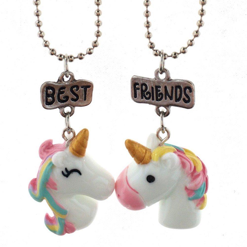 Set de collares para niñas, mejores amigas para siempre, con diseño de unicornio y arco iris Collar Mujer Joven Unicornio ONE TWO THREE DF-091