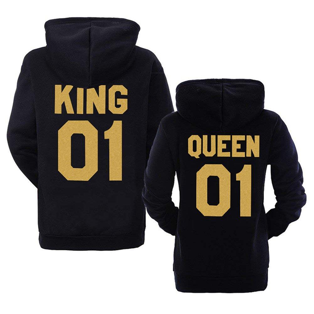 ORANDESIGNE Pärchen Kapuzenpullover King & Queen 01 Mann Frau Paar Pullover Bedrucken Partnerlook für Couple Hoodie