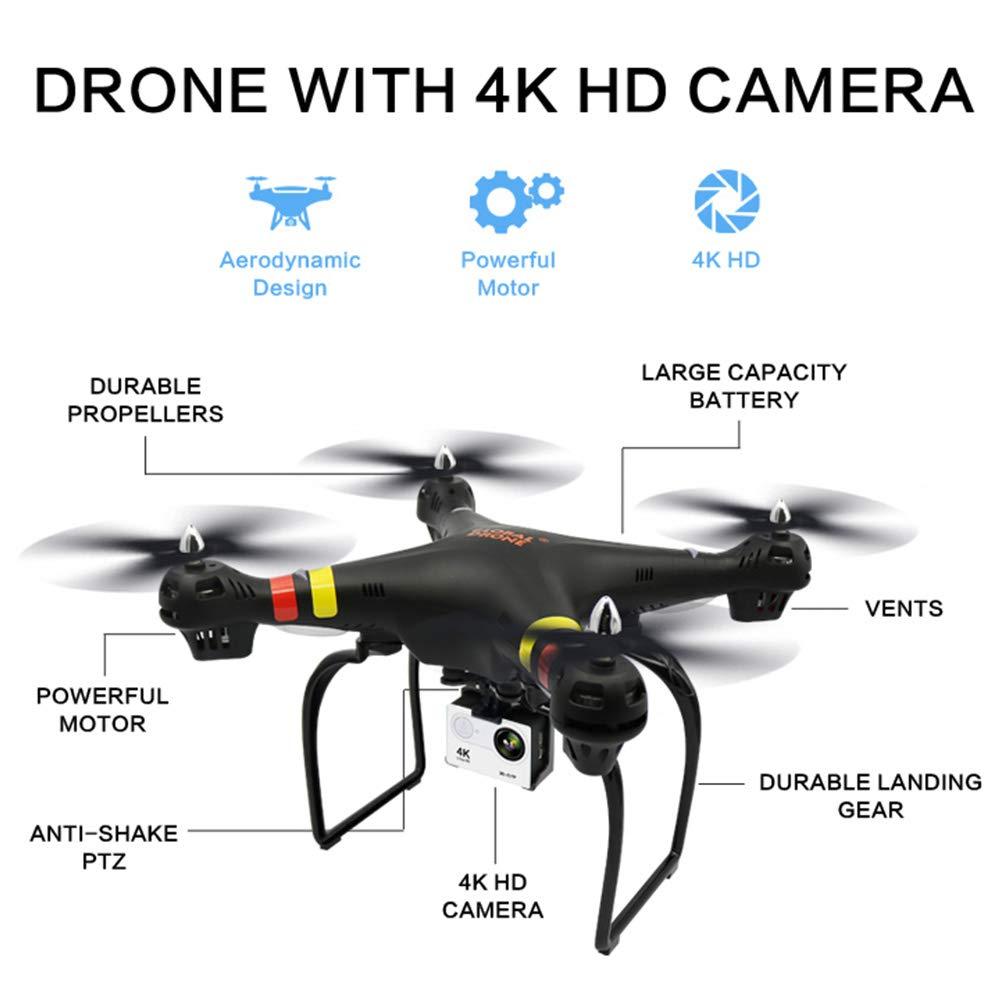 WiFi FPVドローン 4k広角HDカメラ ライブビデオ RC 6軸 高度維持機能付き飛行機 重力センサー機能 VRヘッドセット対応 B07L6LPD1J