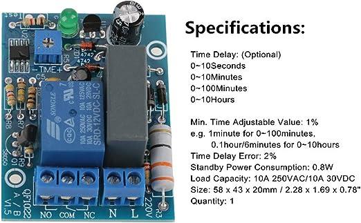 M/ódulo de rel/é de temporizador de retardo de 220 V 0-100min interruptor de retardo de encendido ajustable de temporizador 10A250VAC//10A30VDC
