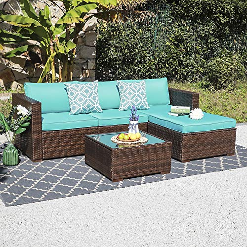 OC Orange-Casual 5 Pieces Outdoor Sofa Sectional Set Patio Furniture Sets All-Weather Brown PE W ...
