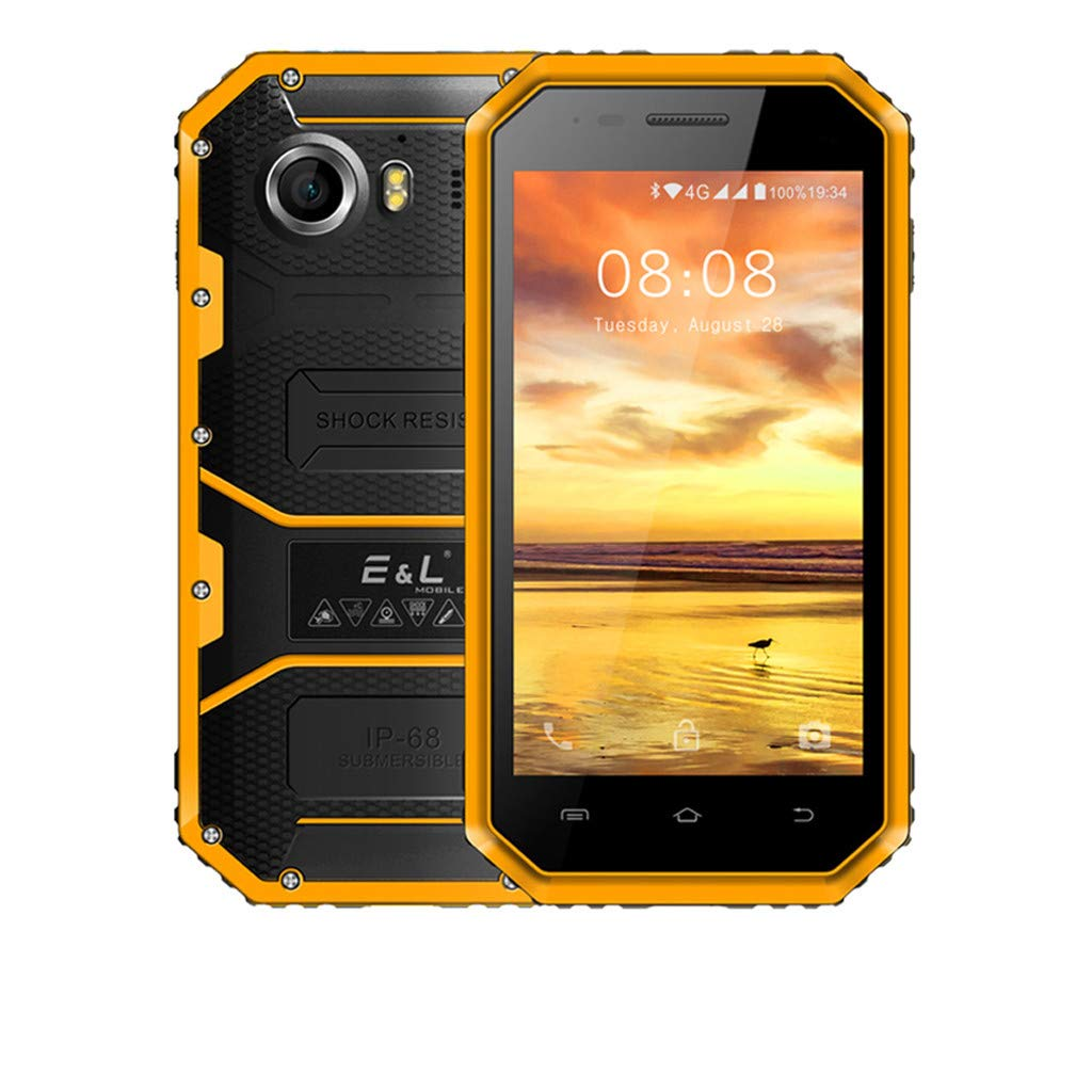 Unlocked Smartphone 4.5'' Android 1GB+8GB 5MP+8MP Cameras Mobile Phone 4G Waterproof Shockproof Cellphone (Yellow, 4.5 inch)