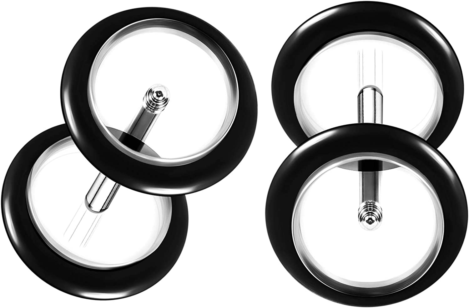 BIG GAUGES 2 Pairs Acrylic 1.2mm 8mm Fake Glow in The Dark Rubber O Ring Plugs Piercing Jewelry Ear Illusion Cheater Logo Earring Lobe
