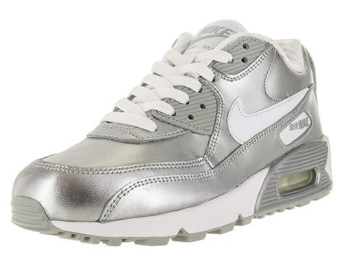 lowest price 9e7b3 bd93c Nike Gradeschool Air Max 90 Prem LTR (GS) White Metallic Silver White