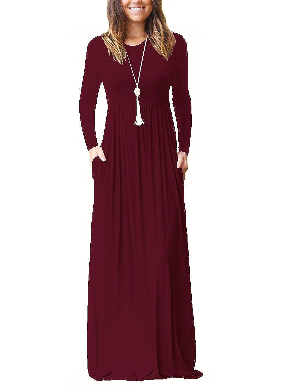 TALLA XL. Dasbayla - Vestido - Trapecio - Manga Larga - para Mujer 0-wine Red XL
