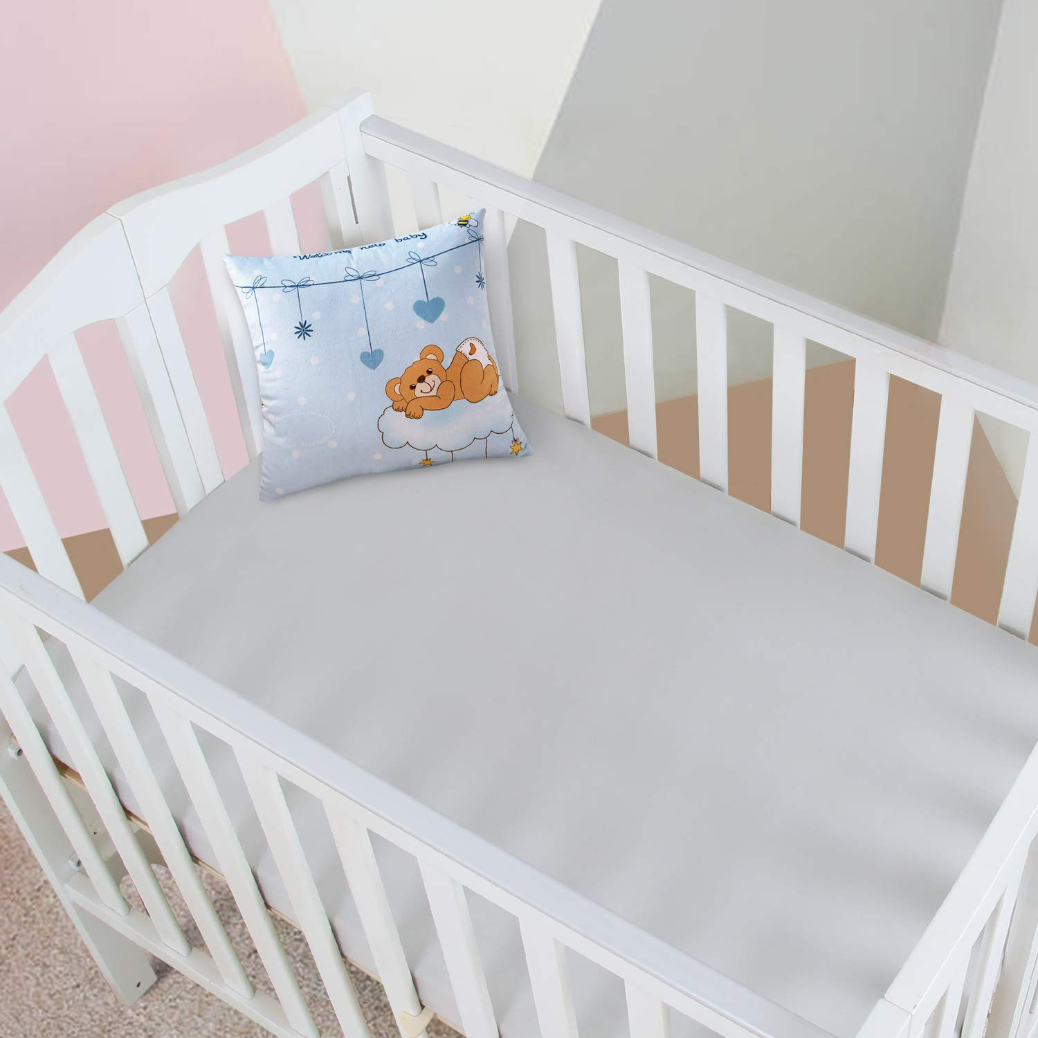 Designthology (U.S.) Super Soft Jersey Knit Crib Sheets (24'' X 38'' X 5'' Light Gray) - Toddler Bed Bedding Set Play N Pack Sheets - Hypoallergenic Breathable Nursery Bedding Sets for Girls & Boys