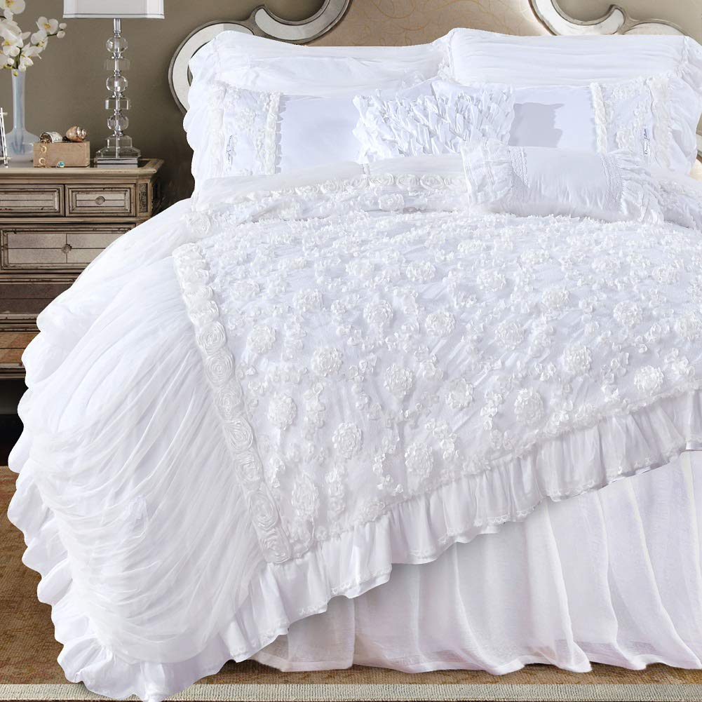 Beige King Queen's House Shabby pinks Printed Duvet Cover Cotton Bedding King Size