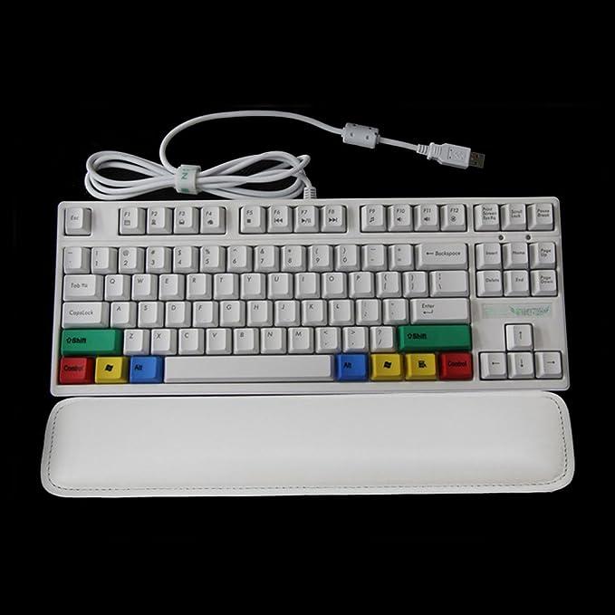 Amazon.com : eDealMax 47cmx8cmx2cm Cuero de la PU 104 108 teclas del ordenador de Mano del cojín del teclado del resto de muñeca Blanca : Office Products