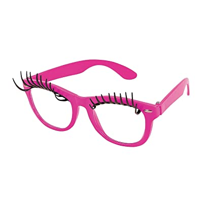 Pink Eyelash Glasses with Clear Lenses (1 Pair) Halloween, Costume Accessories, Pretend Play: Toys & Games [5Bkhe0201025]