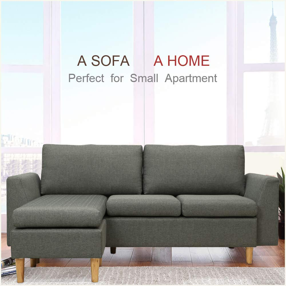 Amazon.com: Sofá seccional, en forma de L, con cintura ...