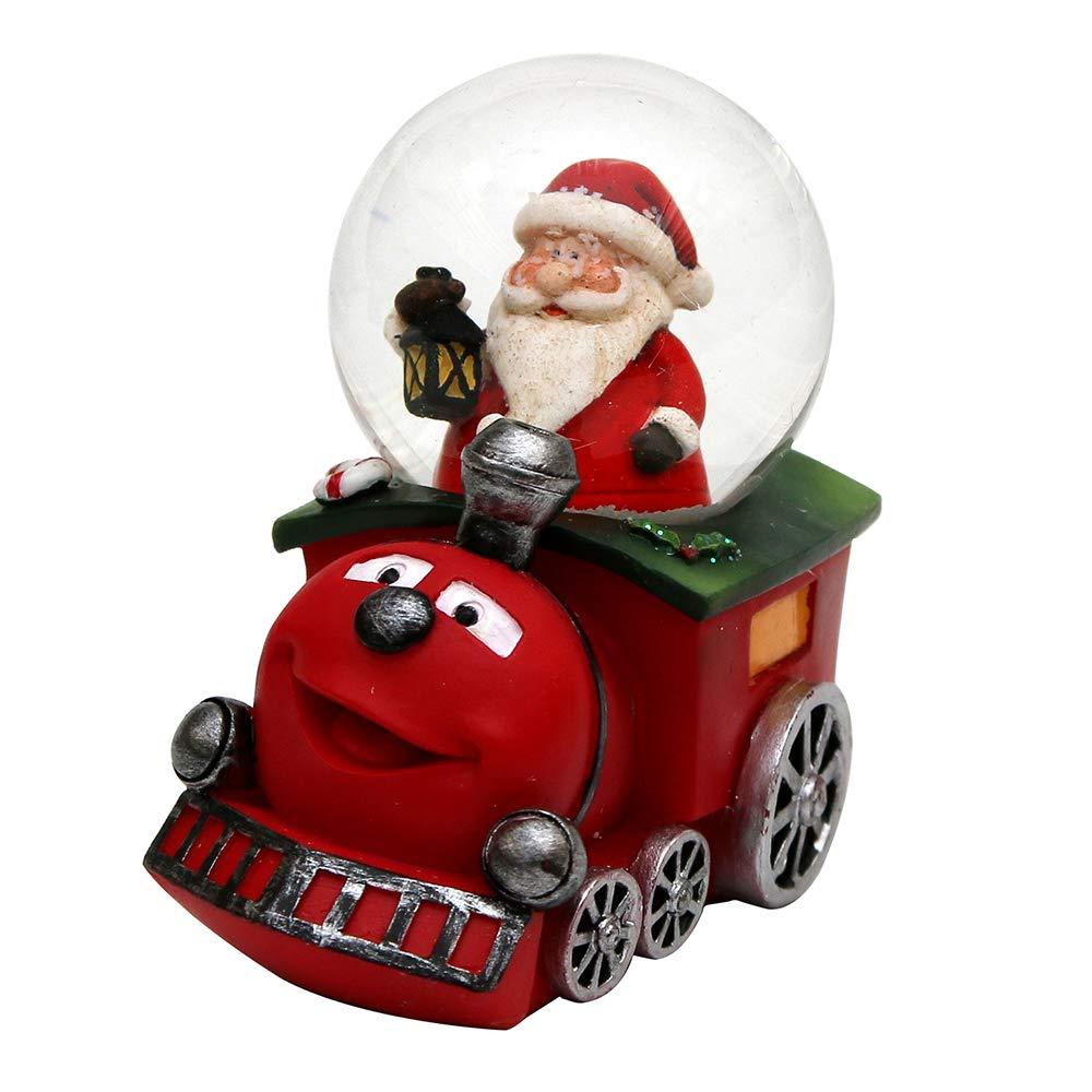 Dekohelden24 Palla di Neve Divertente ferrovia con Babbo Natale, Colore Selezionabile Tramite Menu a Discesa. Verde