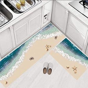 Anti Fatigue Kitchen Floor Mat, Comfort Standing Mats,Waterproof PVC Non Slip Washable for Indoor Outdoor (Beach,45150)