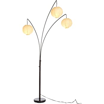 Adesso 4101 26 Spheres Arc 3 Light Floor Lamp Standing Lamp With Rice Paper Shades Lighting