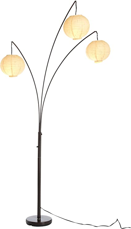 Perfect Adesso 4101 26 Spheres 82u0026quot; Arc 3 Light Floor Lamp With Rice