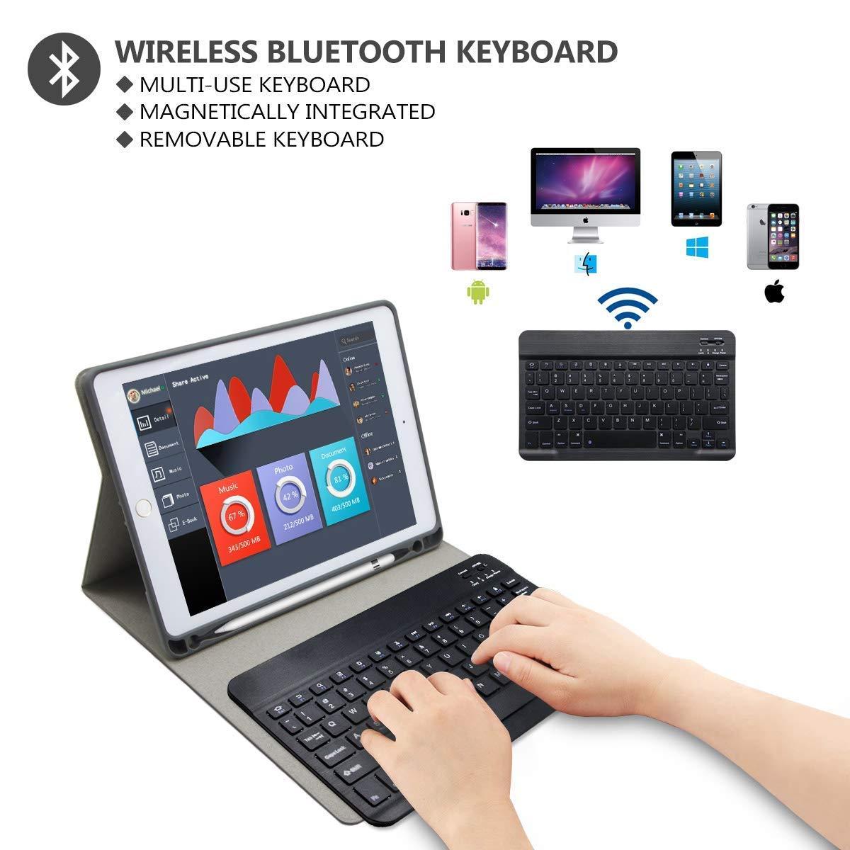 Cubierta Magn/ética Delgada Bluetooth para iPad 2018//iPad 2017//iPad Pro 9.7//iPad Air 2//1 COO Funda Teclado iPad 9.7 Rosa Funda iPad 2018 con Ranura para L/ápiz y Teclado Espa/ñol Incluye Letra /Ñ