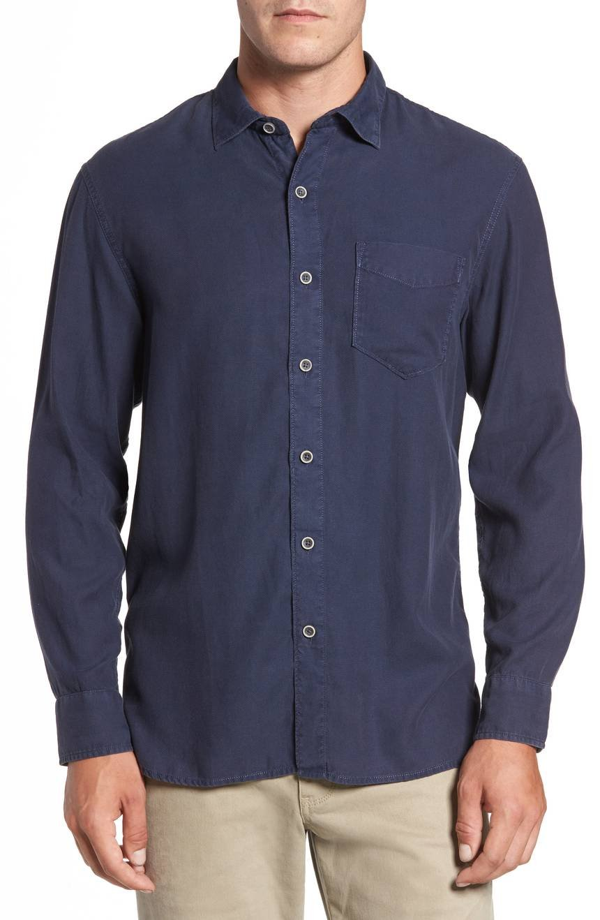 Tommy Bahama Men's Dobby Dylan Shirt (Blue Note, Large)