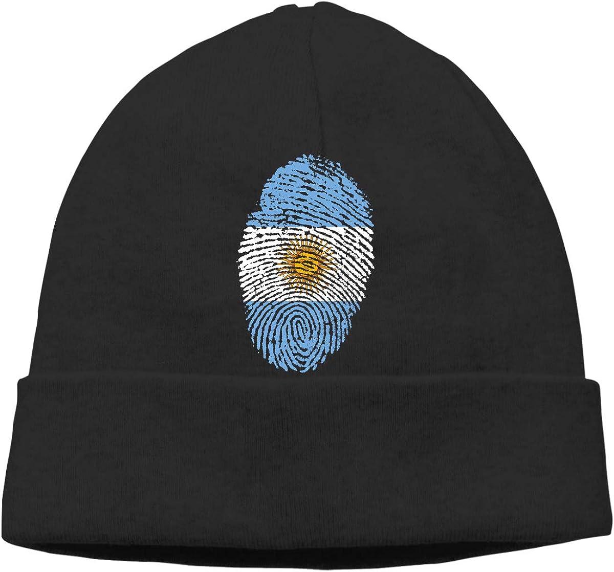 Argentina Unisex Cuffed Plain Skull Knitted Hat Beanie Cap Men Women Black