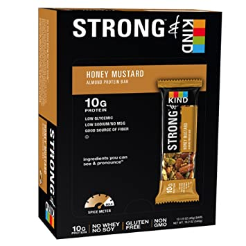 Amazon.com : STRONG & KIND Protein Bars, Honey Mustard Savory ...