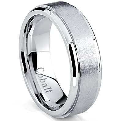 7mm cobalt chrome mens wedding band ring with beveled edges comfort fit size 7