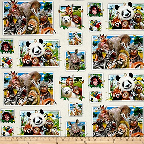 Elizabeth's Studio Zoo Selfies Patchwork Cream Fabric By The Yard - Panda Bear Fabric