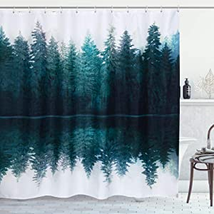 RoomTalks Forest Fabric Shower Curtain, Abstract Nature Scenery Mountain Reflected in a Lake Photography Art Bathroom Shower Curtain Sets Decorative Patterned Bath Curtains (72 x 72, Reflection)