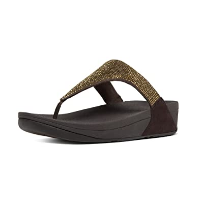 9f287581131a73 FitFlop Womens Slinky Rokkit Toe-Post Chocolate Synthetic Sandals 7 US