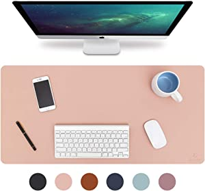"Knodel Desk Pad, Office Desk Mat, 31.5"" x 15.7"" PU Leather Desk Blotter, Laptop Desk Mat, Waterproof Desk Writing Pad for Office and Home, Dual-Sided (Pink/Silver)"
