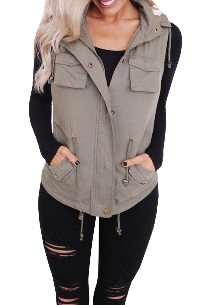Jiujiuyi Womens Sleeveless Drawstring Military Lightweight Vest Jackets with Pockets