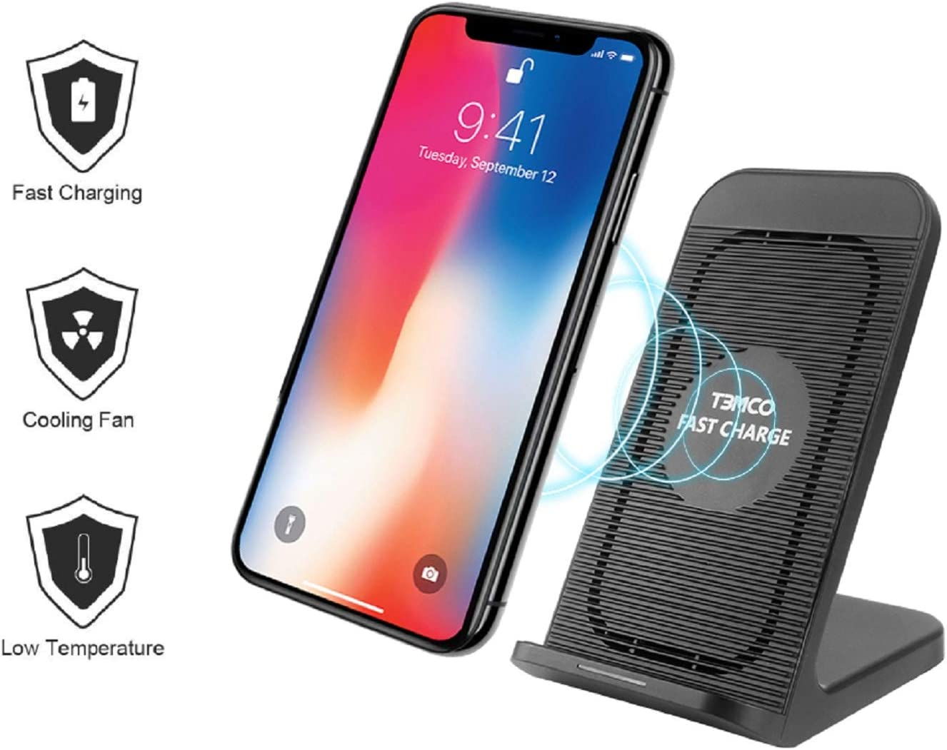 T3MCO 2 Coils 7.5w Qi Fast Wireless Charging Stand with Cooling Fan for Samsung Galaxy S8/S8 Plus/Note 8/S7/S7 Edge/S6 Edge Plus/Note 5/S9/S9 Plus, iPhone 8/8 Plus/iPhone X,
