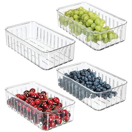 mDesign Juego de 4 cajas plásticas organizadoras pequeñas ...