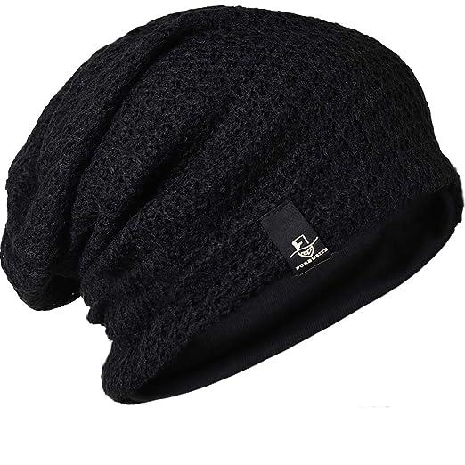 f5ff29fecc63a FORBUSITE Slouch Beanie Hats for Men Winter Summer Oversized Baggy Skull Cap  (B100-Black
