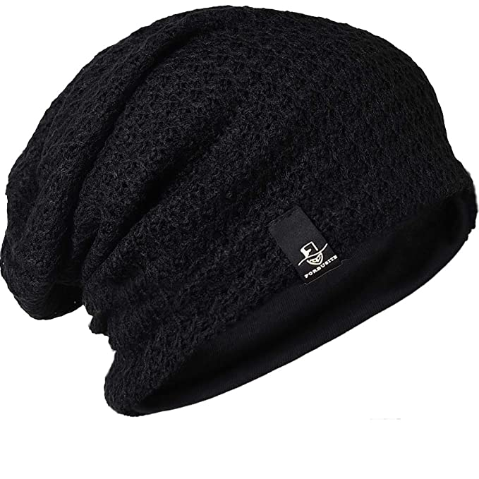 37896e3dcc1 FORBUSITE Slouch Beanie Hats for Men Winter Summer Oversized Baggy Skull  Cap (B100-Black