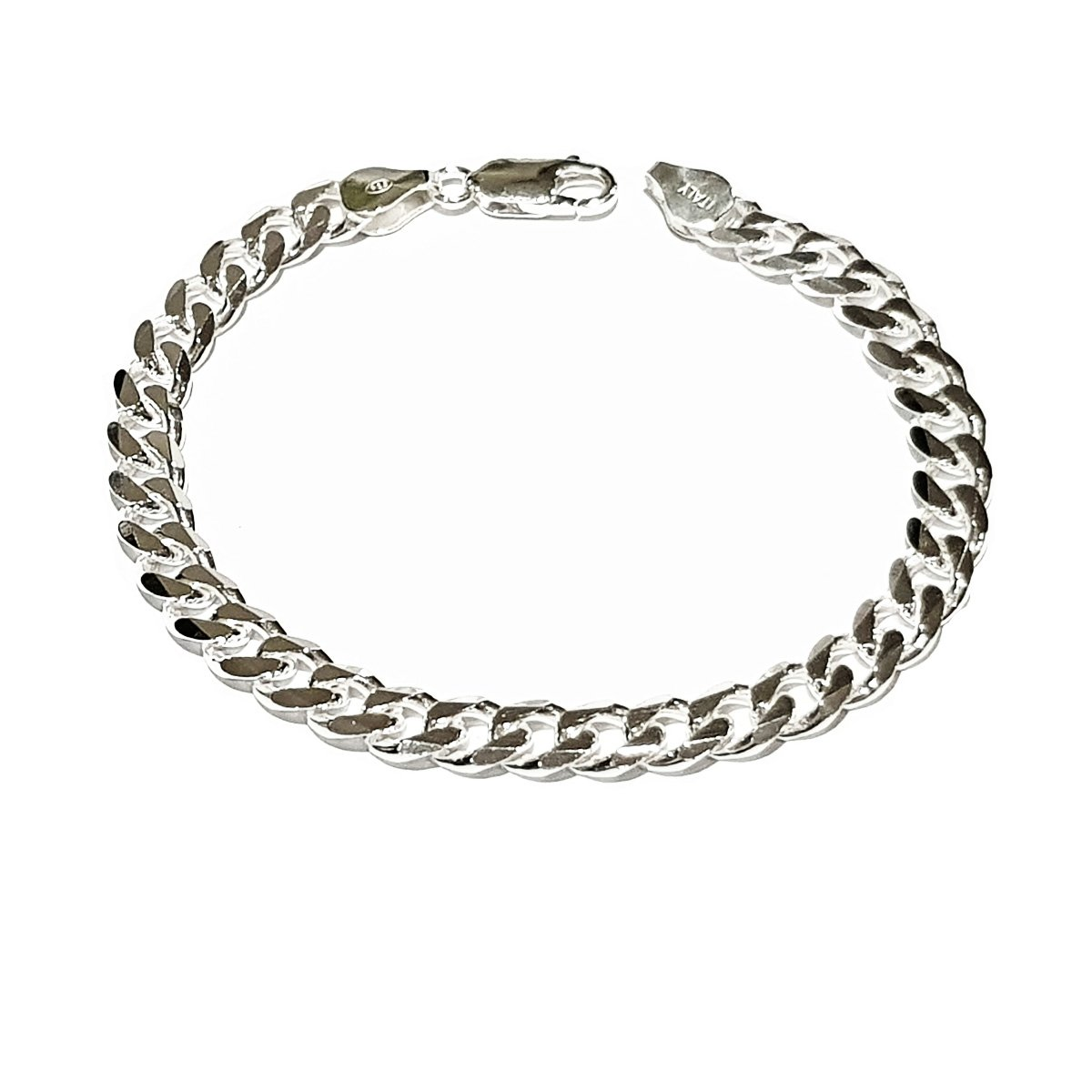 TreasureBay Mens Solid 925 Sterling Silver Chain Bracelet - 7mm Width  Available in 18cm, 19 5cm, 21cm and 23cm