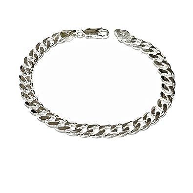 01db3b9ee1f6b TreasureBay Mens Solid 925 Sterling Silver Chain Bracelet - 8mm Width  Available in 19.5cm